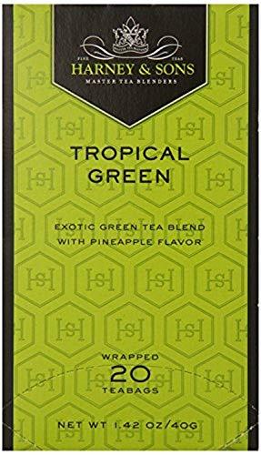 Harney & Sons, Tea, Tropical Green, Prem, Pack of 6, Size - 20 BAG, Quantity - 1 Case