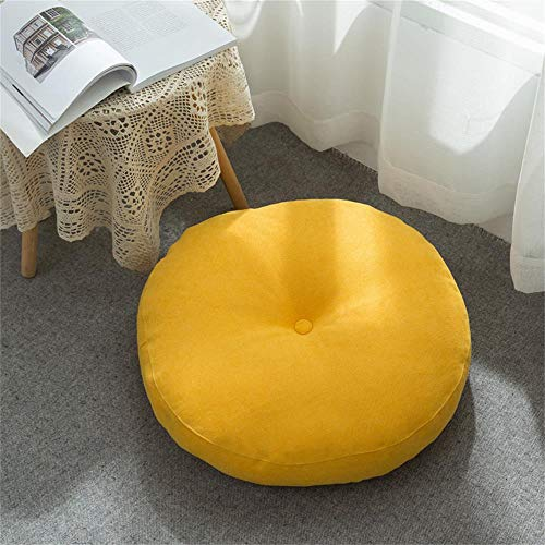 Solid Color Cotton Linen Round Seat Cushion Floor Pillow Cushion Yoga Bolster Tatami Floor Round Cushion for Couch Chair Bed Car Floor Seat Pillows Cushions Yellow M
