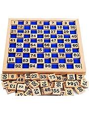 Sipobuy Houten speelgoed Honderd bord Montessori Math 1-100 opeenvolgende cijfers Houten educatief spel voor kinderen met opbergtas