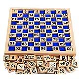 Sipobuy Juguetes de Madera Cien Tablero Montessori Matemáticas 1-100 Números consecutivos Juego Educativo de Madera para niños con Bolsa de Almacenamiento