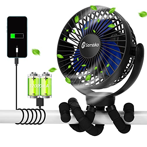 Portable Fan For Baby Stroller - Used as power bank ,50H 12000mAh Mini Cooling Small Bed Fan ,USB Rechargeable,Battery Operated Fan With Flexible Tripod, Fans Clip On Stroller/Car Seat/Bike(Black)