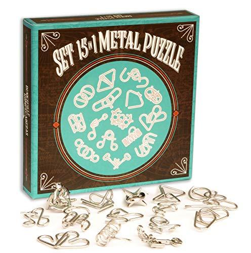 LOGICA GIOCHI Art. Set De Metal 15 en 1 Azul - Rompecabezas De Metal - Juegos De Ingenio - Set De Puzzles Inteligentes - Todos Los Niveles De Dificultad