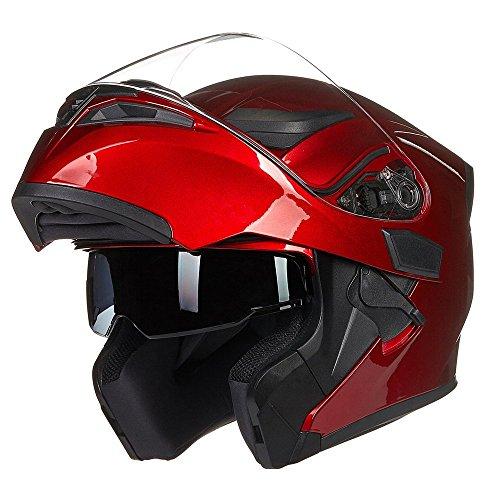ILM Motorcycle Dual Visor Flip up Modular Full Face Helmet DOT 6 Colors (XL, RED)