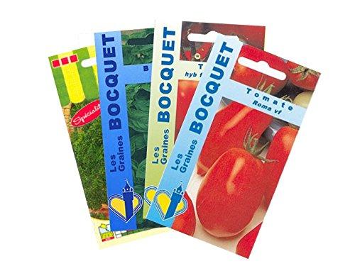 Lot de 4 sachets de Graines de Tomates et Assortiment de légumes - Graines Potagères à semer