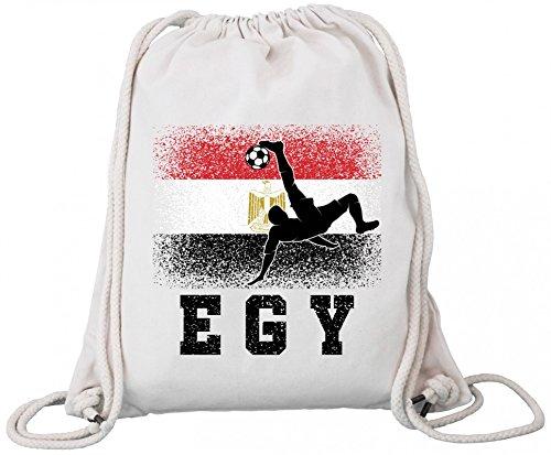ShirtStreet Ägypten Fußball WM Fanfest Gruppen Fan Premium Bio Baumwoll Turnbeutel Rucksack Stanley Stella Egypt Football Player, Größe: onesize,Natural