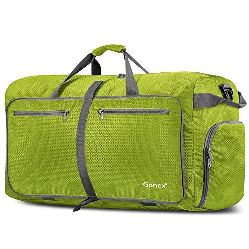 Gonex 100L Travel Duffel Bag Foldable Water Resistant Travel Bag Lightweight Duffel Bag with Big Capacity for Luggage Gym Sports Lime Green