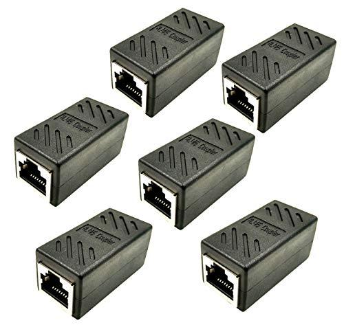 6Pack Adaptador RJ45 Hembra a Hembra, Cable de Red Ethernet Cat 7 Cat 6 Cat 5 LAN RJ45 Acoplador Gigabit Hembra an Hembra (Negro)