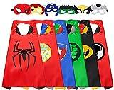 LATERN 6 Piezas Capa Y Máscara De Superhéroe, Disfraces De Superhéroe De Dibujos Animados Juguetes De Vestir Para Niños, Niños, Niñas, Cumpleaños, Fiesta, Favores
