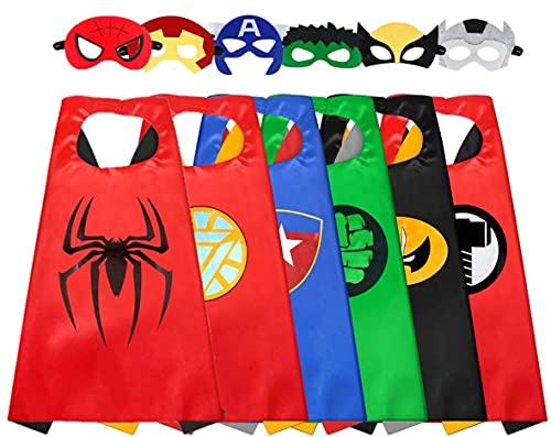 LATERN 6Pcs Cape Et Masque De Super-héros, Costumes De Super héros De Bande Dessinée Habiller Des Jouets Pour Enfants Garçons Filles Faveurs De Fête D'anniversaire