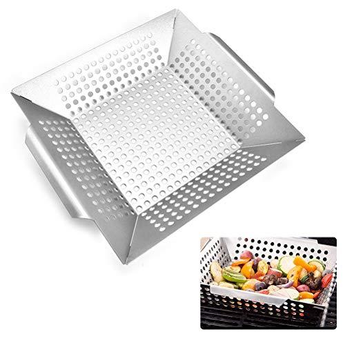 Calayu Grillschaal, roestvrij stalen grillkorf, anti-aanbaklaag, vierkante groenten, grillpan voor ovens en grills, vaatwasmachinebestendig, 35 x 30 x 5,2 cm