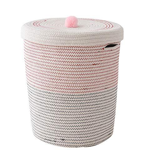HRRF Cesta de Almacenamiento Redondo, Canasta de Juguete Plegable con Tapa, Usado para almacenar Productos para el Cuidado de la Piel, Necesidades diarias, etc. Tamaño de Tejido de Cuerda de algodón