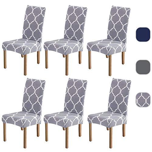 6 x superweiche Stretch-Stuhlbezüge, abnehmbare, waschbare Schonbezüge, hochelastischer Esszimmerstuhlbezug, Spandex-Stuhlschutz mit 5 gratis Filzbodenschutz Hellgrau-Gitter