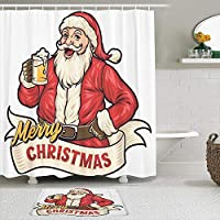 WOTAKA シャワーカーテン バスマット 2点セット サンタドリンクビール 自家 寮用 ホテル 間仕切り 浴室 バスルーム 風呂カーテン 足ふきマット 遮光 防水 おしゃれ 12個リング付き