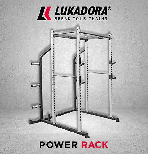 Lukadora Power Rack (Power-Cage) | Multifunktionale Kraftstation mit Klimmzugstange, Langhantelablage und Hantelscheibenaufnahmen