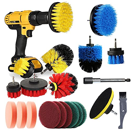 I-clean 20 Pieces Drill Brush attachments, Power Scrubber Brush Cleaning Kit for Bathroom Surface, Grout, Tub, Shower, Kitchen, Auto,Tile, Corners