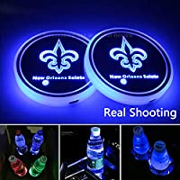 2pcs New Orleans Saints Team Logo LED Car Cup Holder Lights Accessories, USB Charging Mat Luminescent Cup Pad Colorful Dream Breathing Light,Loyal Fans' Choice LED Interior Decoration Light