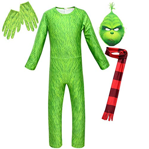KIDSCOSPLAY Kinder Cosplay Kinder Green Monster Grinch Kostüm Halloween Uniform Halloween Geburtstags Thema Partei Green A-130