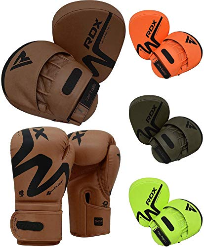 RDX Boxing Pads and Boxing Gloves Set, Hook and Jab Target Focus Mitts with Punching Gloves, Hand Pads for Muay Thai, Kickboxing, Martial Arts, Karate, MMA Training, Padded Coaching Strike Shield