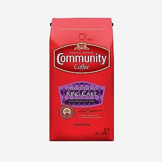 Community Coffee - Mardi Gras King Cake Flavored Medium Roast - Premium Ground Coffee - 32 oz Bag, Red