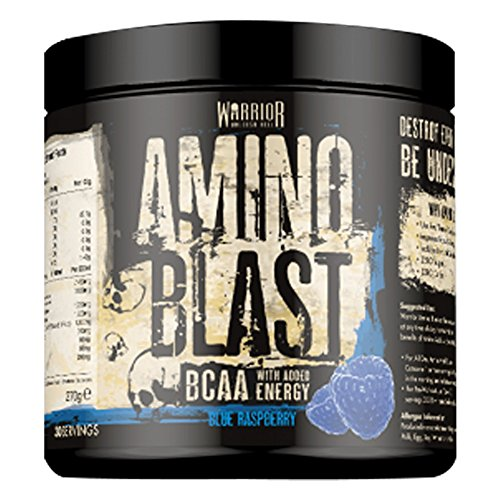 Warrior Supplements Amino Blast BCAA Powder Amino Acids 270g - Blue Raspberry 30 Servings