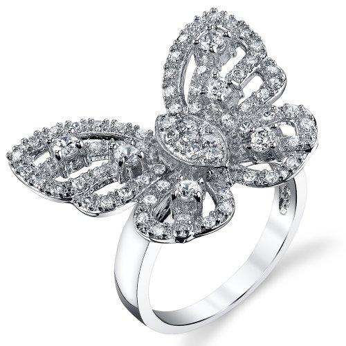 Damen Sterling Silber 925Mariah Carey Schmetterling Ring Bequemlichkeit Passen,Größe 57