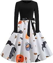 Halloween Dress, Animal Pumpkin Print Dress for Women Ladies O-Neck Long Sleeve Audrey Hepburn Skirt Party Swing Gown White