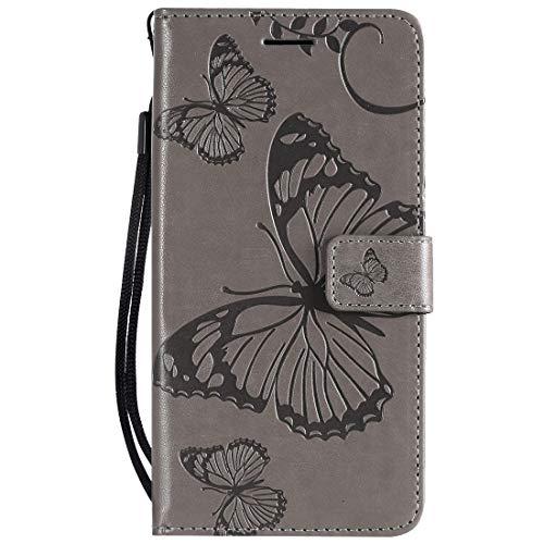 Yiizy Handyhüllen für Huawei Honor 8A Ledertasche, Schmetterling 3D Stil Lederhülle Brieftasche Schutzhülle für Huawei Honor Play 8A hülle Silikon Cover mit Magnetverschluss Kartenfächer (Grau)