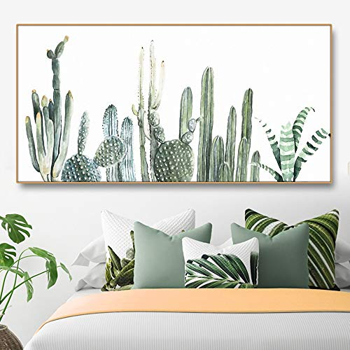 XCSMWJA Cactus Verde Flores Plantas En Lienzo Pintura Caligrafía Carteles Cuadros Arte De La Pared Impresiones Decoración para Sala De Estar Dormitorio 60 * 120Cm