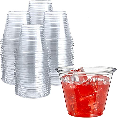 250 Clear Plastic Cups | 9 oz Plastic Cups | Clear Disposable Cups | PET Cups | Clear Plastic Party Cups | Crystal Clear Plastic Cups