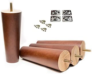 Maricome 6 Inch Wood Furniture Legs Replacement Cabinet Couch Chair Sofa Legs Walnut Finished 5/16