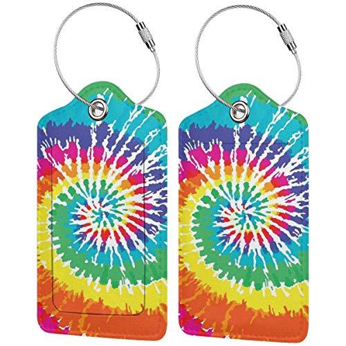 SIONOLY Etiquetas para Equipaje,Vórtice Espiral Digital Vibrante Arco Iris de Colores años Sesenta Ikat patrón psicodélico Imprimir,4 Piezas Etiquetas de Equipaje de Viaje de la Maleta para Mochila