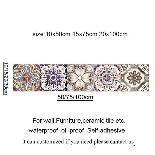 Decoración para el hogar, baño de Marruecos, autoadhesivo, diseño de mosaico, impermeable, para pared, decoración de pared para cocina, decoración del hogar moderna (color: 4, tamaño: 10 x 50 cm)