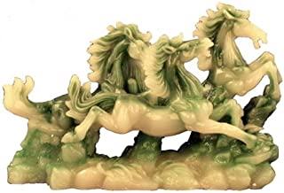Asian Home Hong Tze Collection-Large Triple Running Horses (Jade Color)