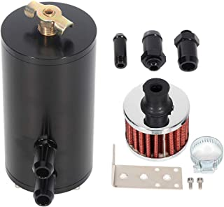 ECCPP 250ML Universal Aluminum Engine Oil Catch Tank Can Polish Baffled Reservoir Air-Oil Separator Black
