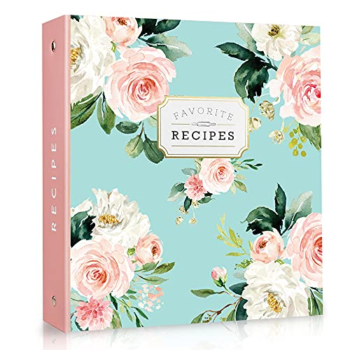 """Recipe Binder 3 Ring Organizer Blank recipe book 8.5"""" x 9.5"""" with 50 blank recipes cards (4x6); Dividers and Page Protectors; recipe book to write in your own recipes"""