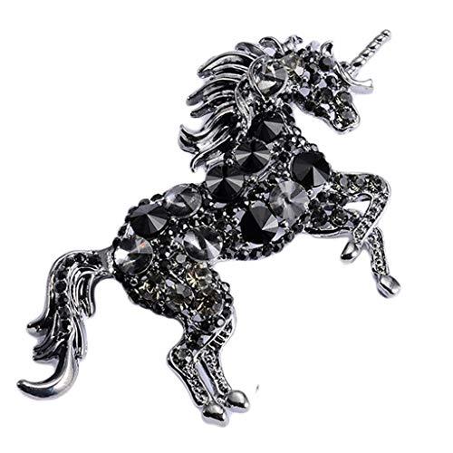 Gaorb Frauen-Brosche, weiblich Retro-Stil Corsage Unicorn Pop Variety Accessoires Schmuck Pin 8.7 * 5cm (Color : Black)