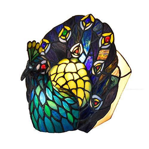 Wan&ya Lámpara de Mesa Creativa Tiffany Mosaico Retro Pavo Real Verde Vidrieras Luces de Escritorio E27 Luz de Noche pequeña Decorativa Sala de Estar Dormitorio Infantil Lámpara de Noche