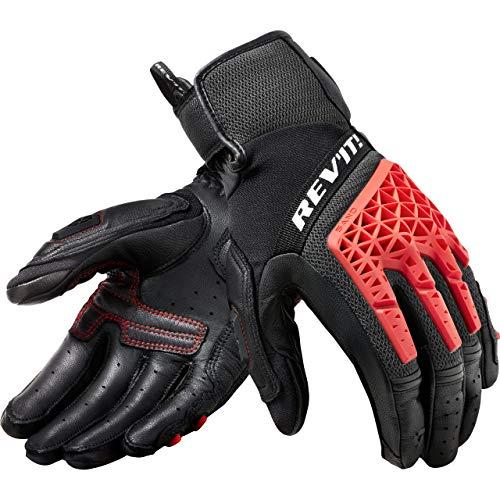 REV'IT! - Guantes cortos de moto para hombre, para todo el año, piel y tela blanco / rojo L