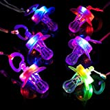 Sezrgiu Colorful Night Light Flash LED Pacifier Rave Binkie Light Up Toy Necklace Glowing Flashing Led Whistle Nipple for Activities in KTV and Bar Concert Christams Holloween (6 Pack Colorful)