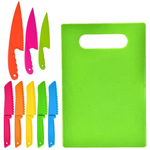 9-teiliges Küchenmesser-Set aus Kunststoff Kindersichere Kochmesser mit Schneidebrett Set Plastik Messer zum Schneiden von Obst Brot Kuchen Salat