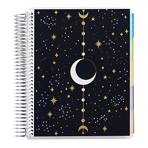"""7"""" x 9"""" Coiled 12 Month Academic Planner (September 2021 - August 2022)- Gold Moon Phase. 12 Month Dated Calendar w/Lined Pages & Tabs. 234 Pages of 80Lb Mohawk Paper. 80 Sheets by Erin ..."""