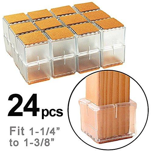 NYKKOLA 24 protectores de suelo cuadrados para patas de silla con almohadillas de fieltro, para sillas, tapas de pies para patas de 3,0 a 3,5 cm.
