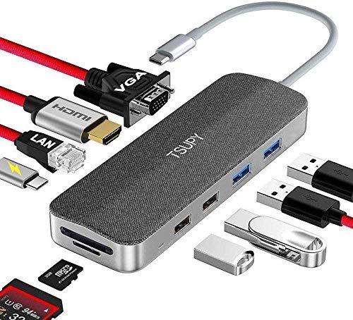 TSUPY HUB USB C,11 en 1 Hub Tipo C con HDMI 4K 1080P VGA Ethernet RJ45 Carga PD Tipo C 4 Puertos USB 3.0/2.0 Lector de Tarjeta SD/TF para Mac/Mac Pro/Huawei/Samsung y más Dispositivos de Tipo C