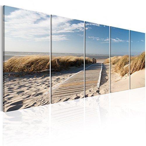 murando - Bilder Strand 200x80 cm Vlies Leinwandbild 5 TLG Kunstdruck modern Wandbilder XXL Wanddekoration Design Wand Bild - Landschaft Meer c-C-0176-b-m