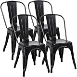 YAHEETECH 18 Inch Classic Iron Metal Dinning Chair Indoor-Outdoor Use Chic Dining Bistro Cafe Side Barstool Bar Chair Coffee Chair Set of 4 Black