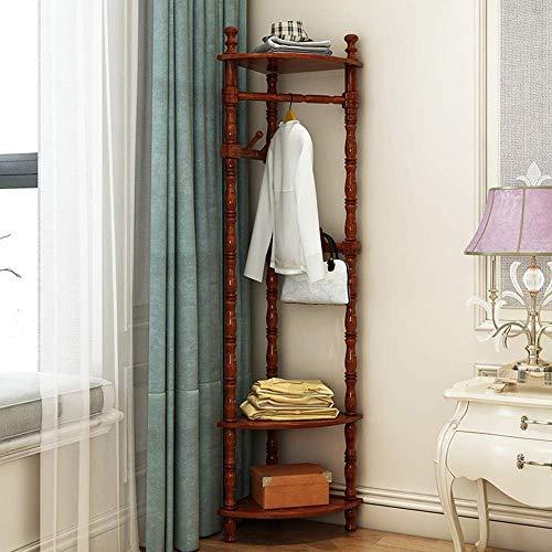 Garderobe Solid WoodCoat Rack hörnhylla sovrum hörnskåp klädhängare vardagsrum 3 färger fristående (färg: nötträd)