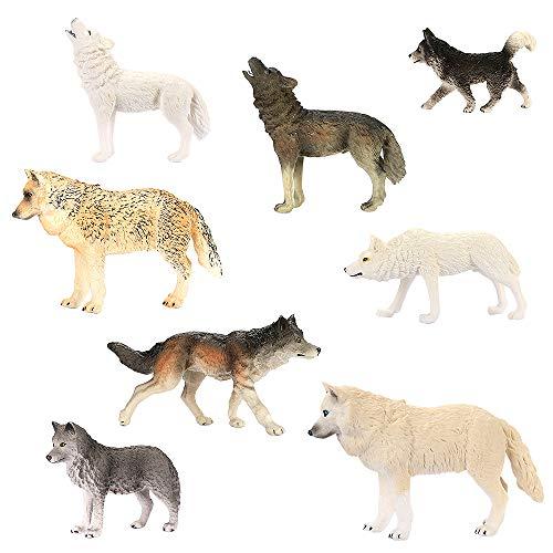 CestMall Wolf Toys Figures 8Pcs, Animal Toys Wolf Figurines Zoo Pack, Figuras realistas Dibujadas a Mano, Colección y exhibiciones geniales Edades de 3 4 5 Niños y niñas Niños