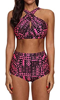 High Waisted Floral Bikini Front Cross Red Tribal Plus Size Swimwear-KJX005-RD1