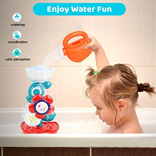 Baby Toys - Bath Toys for 1 Year Old, Baby Bath Toys 12 Months, Bathtub Toys for 1 2 3 Years Old Boys Girls, Shower Toys Gifts for Kids Birthday (Flower Waterfall with Mini Sprinkler and Spoons)