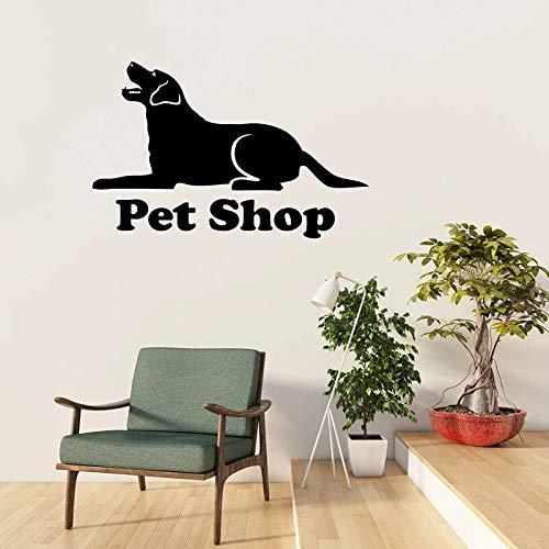 Tienda de mascotas logo calcomanías de pared salón de aseo silueta de perro clínica veterinaria animal decoración de interiores vinilo pegatina de ventana mural